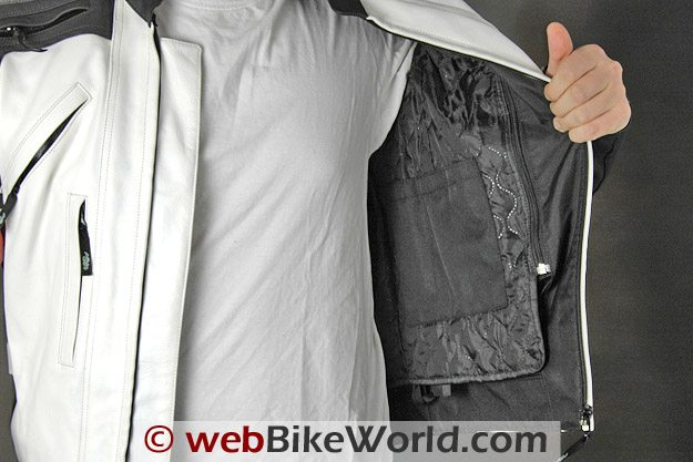 Removable insulating liner in the Teiz Motorsports Camino jacket.