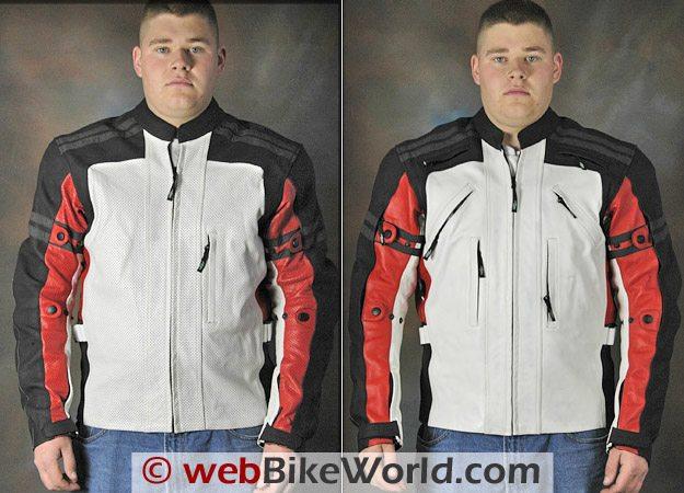 Teiz Motorsports Tioga perforated leather jacket (L) and Camino non-perforated leather jacket (R).