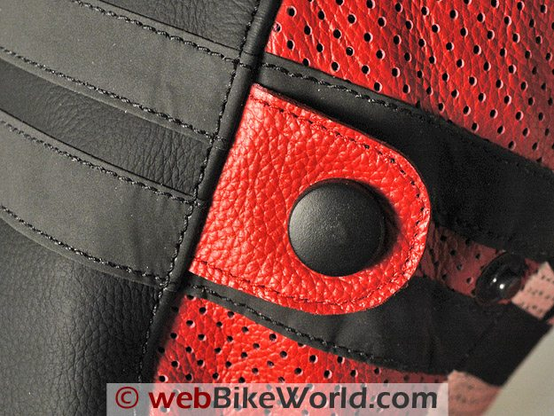 Teiz Motorsports Tioga Jacket - Detail of the sleeve adjuster, stitching, black reflective material and perforations.