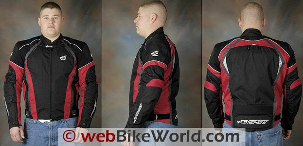 Three views of the AGV Sport Tempest Jacket