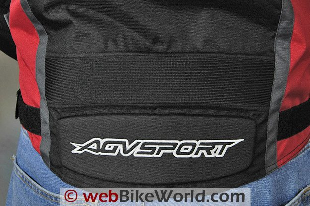 AGV Sport Tempest Jacket - Detail of the lower back and embroidered AGV Sport logo.