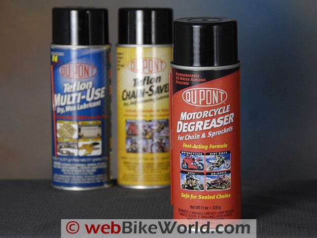 DuPont Motorcycle Degreaser, DuPont Teflon Multi-Use Dry Wax Lubricant and DuPont Teflon Chain Saver
