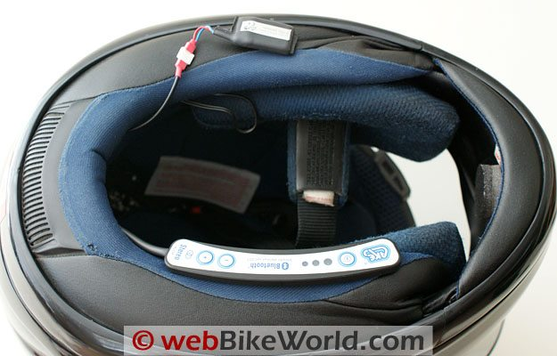 Very small battery can be hidden inside the helmet, while the thin intercom unit hides under the neck roll.