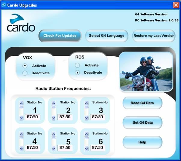 Scala Rider G4 Intercom Software Upgrade - Software Upgrade Screen Shot