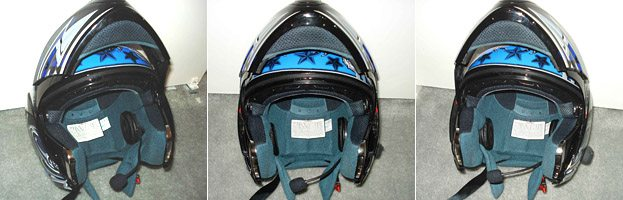 Modified BT Interphone headset mounted in helmet
