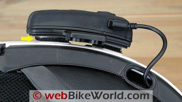 Interphone F4 mounted on helmet, bottom view.