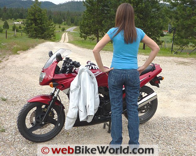 Shift Silhouette Jeans - Rear View With Motorcycle