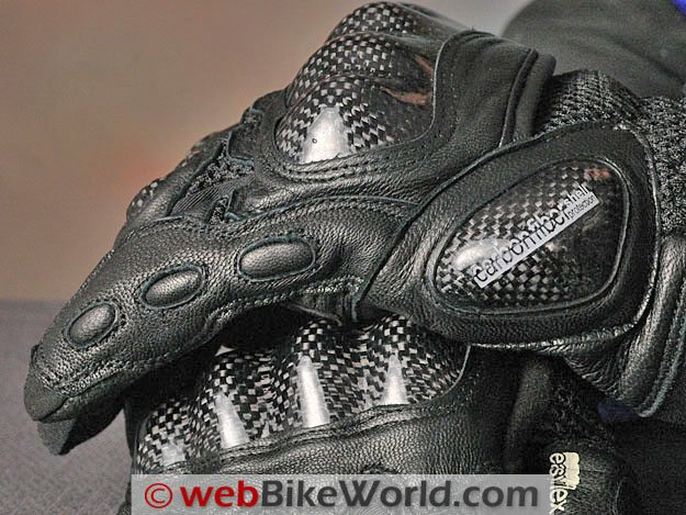 Eska H2 Motorcycle Gloves - Side View and Carbon Fiber Knuckle Protectors