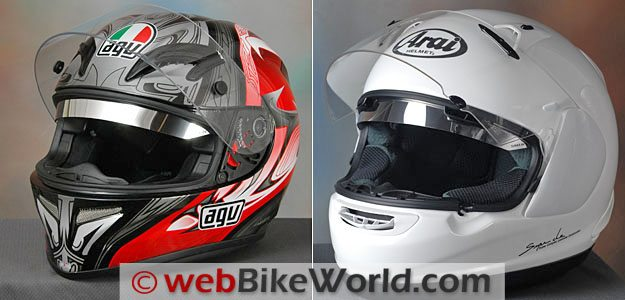 Sunax Sunshield on AGV T-2 (L) and Arai RX-Q