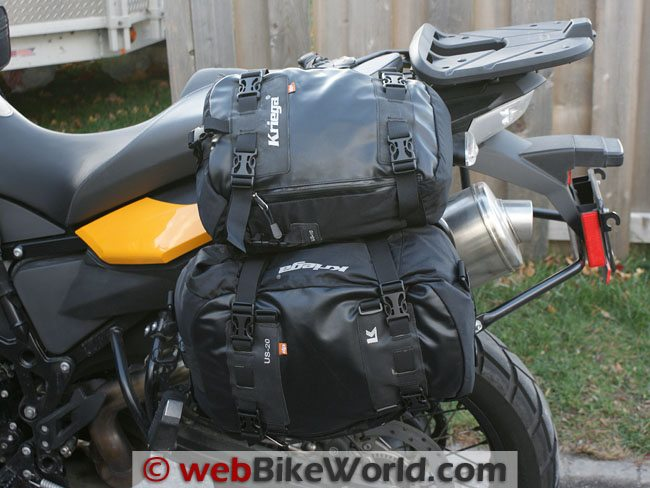 Kriega Drypack Luggage - Side View, Mounted on BMW F800GS