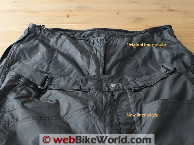 Firstgear HT Overpants - Liner and Waist Comparison