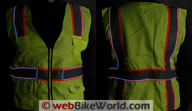 USTEK Electroluminescent Safety Vest - Front and Rear Views