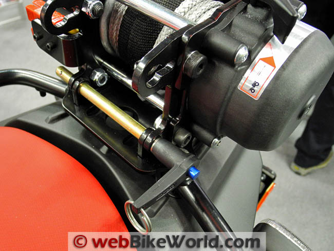 Warn XT15 Winch Motorcycle Mount Close-up