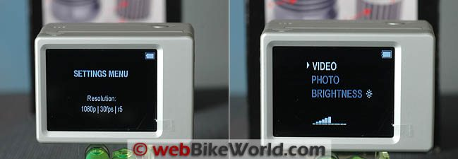 GoPro BacPac Menus on LCD Screen