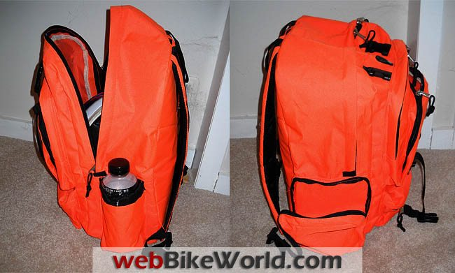 Orange Backpack Open and Closed