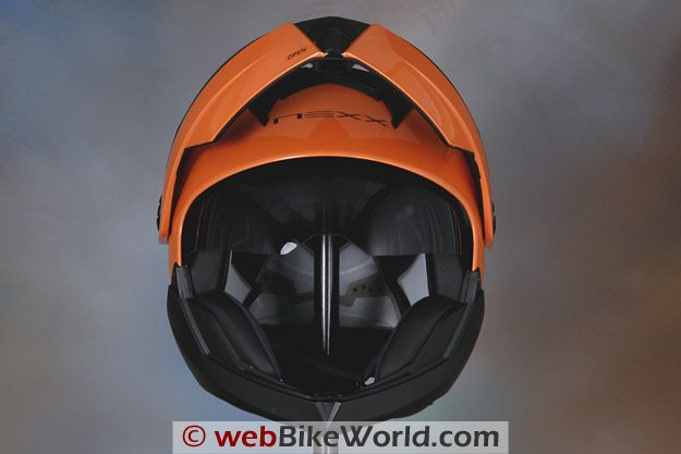 Nexx X30 Helmet - Front View, Visor Rotated Upwards