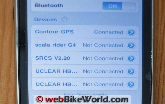Contour GPS Bluetooth Connection on iPhone