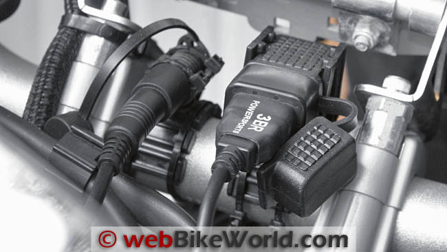 12 Volt and 5 Volt Power Ports Mounted on BMW F 800 GS