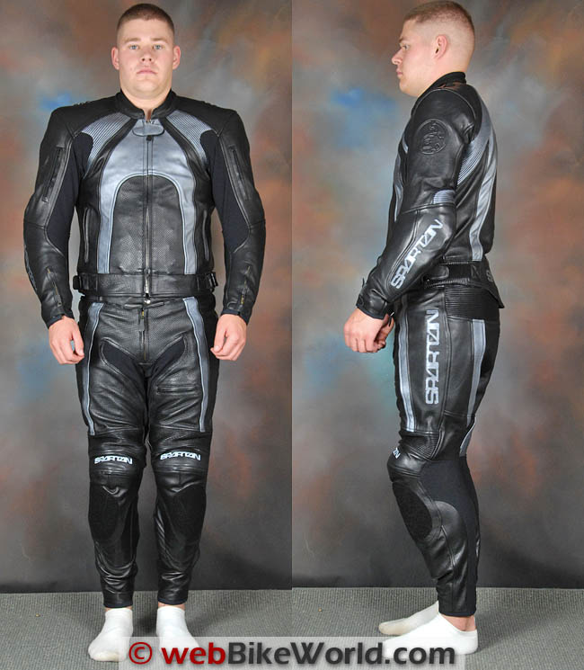 Spartan Leathers Charge Race Suit Front and Side Views