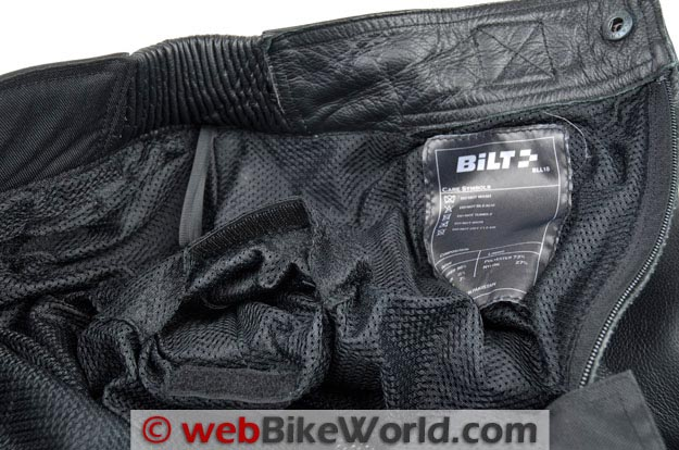 Bilt Trackstar Leather Pants Mesh Liner and Hip Armor