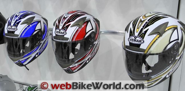Vemar Storm Helmets Blue, Red and Brown