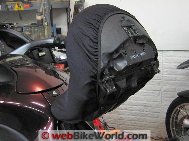 King of Fleece Seat Cover on BMW K1200LT Seat Underside View