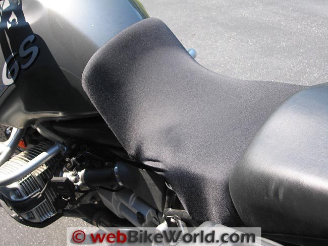 King of Fleece Seat Cover on BMW R1150GS Side View