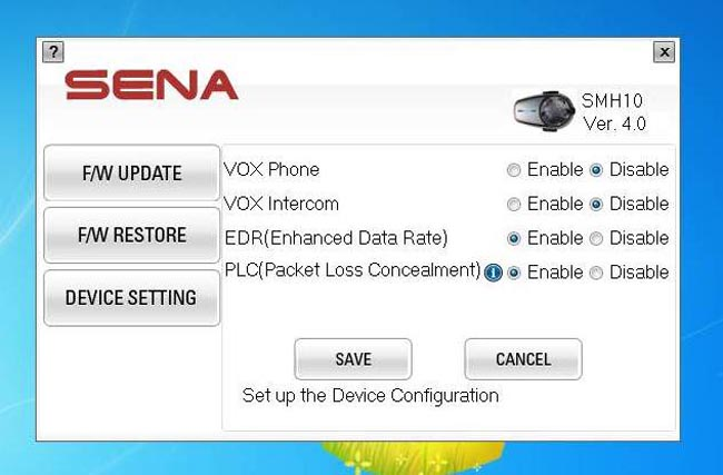 Sena SMH10 Version 4 Firmware Update Device Settings