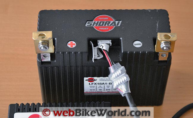 Shorai BMS01 Battery Charger Connected to Battery