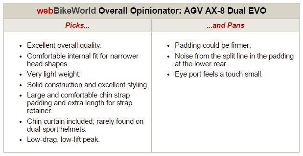 AGV AX-8 Dual EVO Opinionator