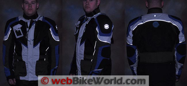 British Motorcycle Gear BMG Adventure II Jacket Reflectivity