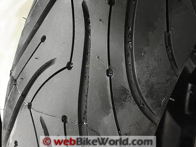 Michelin Pilot Road 3 Motorcycle Rear Tire Close-up