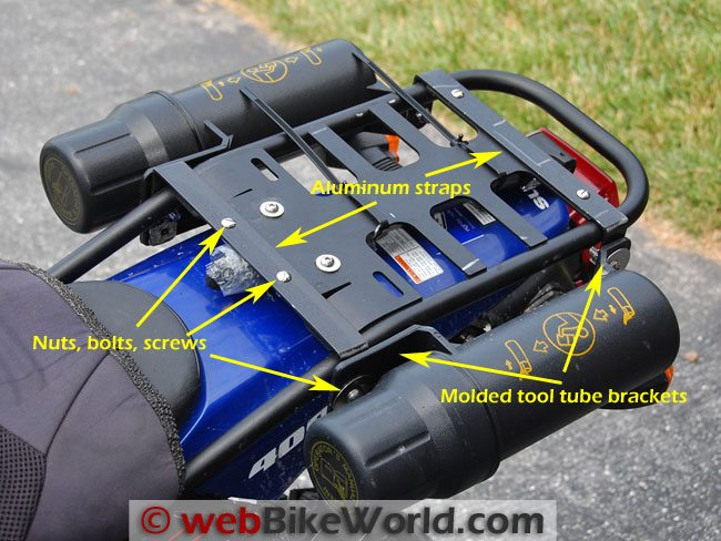 Motorcycle Tool Tubes on Luggage Rack