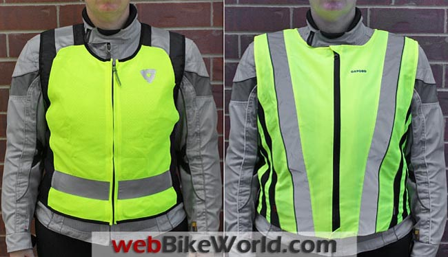 Rev'it Athos vs. Oxford Bright Top Reflective Vest Front