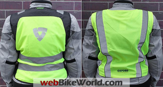 Rev'it Athos vs. Oxford Bright Top Reflective Vest Rear