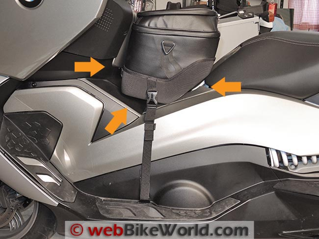BMW C 650 GT Tunnel Bag Angle of Strap Attachment