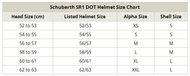 SCHUBERTH SR1 Size Chart