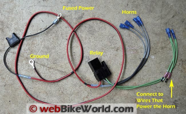 dual horn relay wiring harness webbikeworld rh webbikeworld com Wiring Harness Connector Plugs Installing a Headlight Wiring Harness