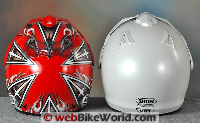 Shoei Hornet DS Helmet Japan vs. USA Rear View