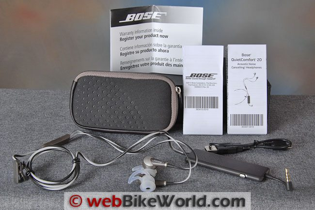 Bose QuietComfort 20 Noise Cancelling Headphones Kit Contents
