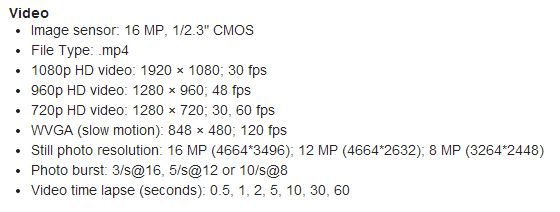 Garmin VIRB Video Specifications