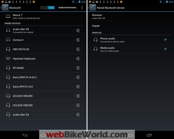 Cardo SmartSet App on Android Device