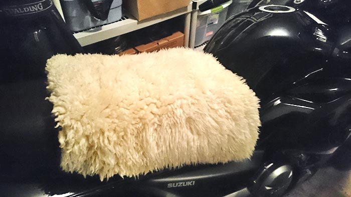 Suzuki GW250 Seat Modifications Sheep Skin