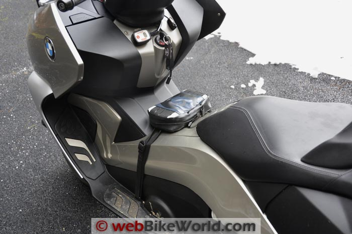 Giant Loop Possibles Pouch on BMW Scooter Left Side