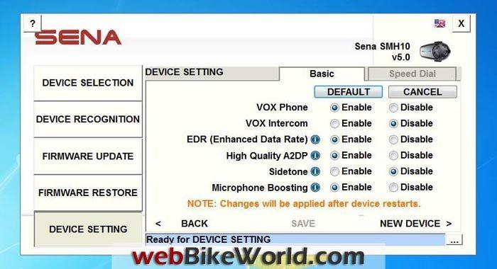 Sena SMH10 Version 5 Firmware Update Device Setting