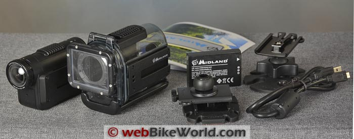 Midland XTC400VP Action Camera Kit Contents
