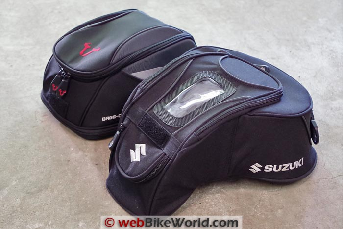 SW-Motech Bags-Connection EVO Daypack Tank Bag vs. Suzuki Tank Bag Side-by-Side Comparison