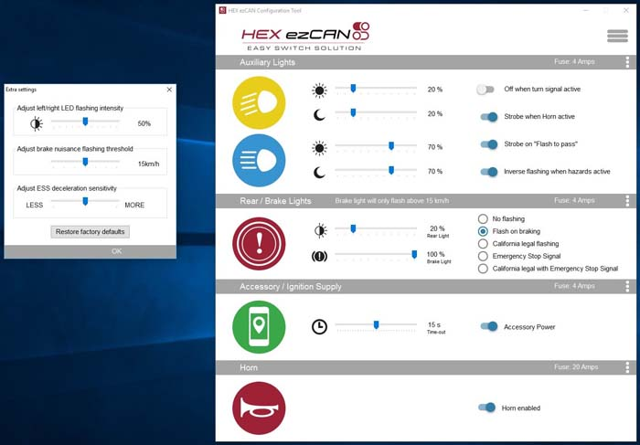 HEX ezCAN Software Extra Settings Screen