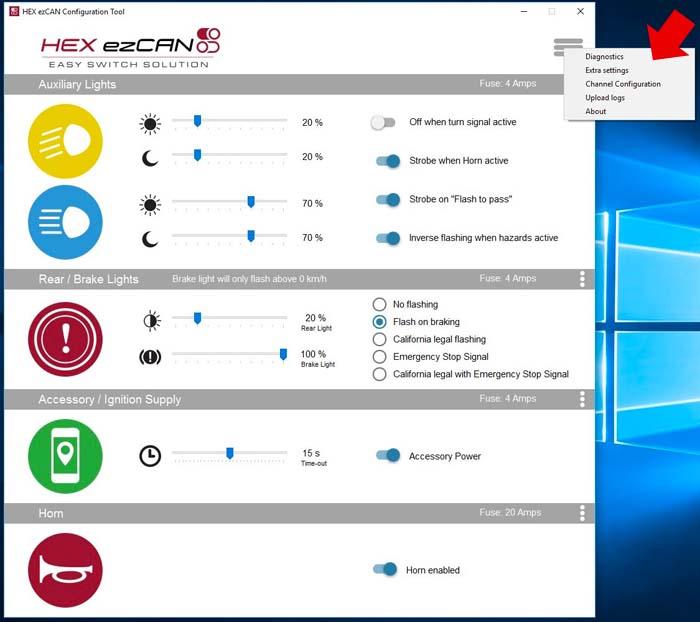 HEX ezCAN Software Main Menu