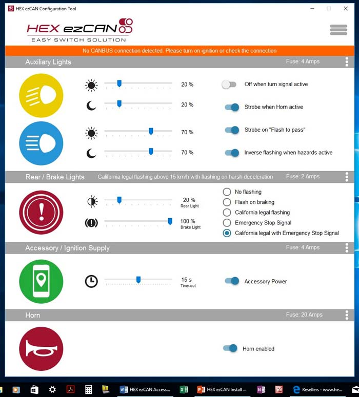 HEX ezCAN Software Opening Screen
